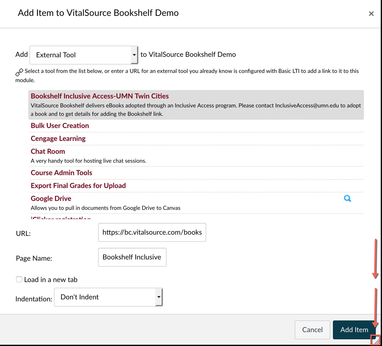 Choose Bookshelf Inclusive Access from list of external tools