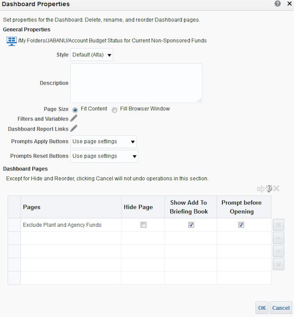 the dashboard properties dialog box