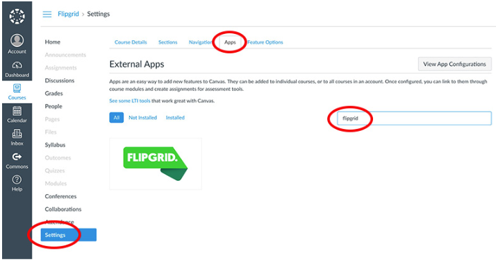 canvas settings apps tabs flipgrid