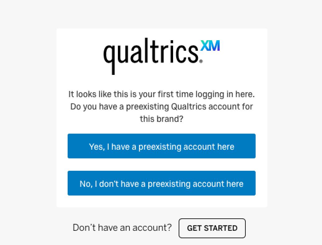 qualtrics pre-existing account