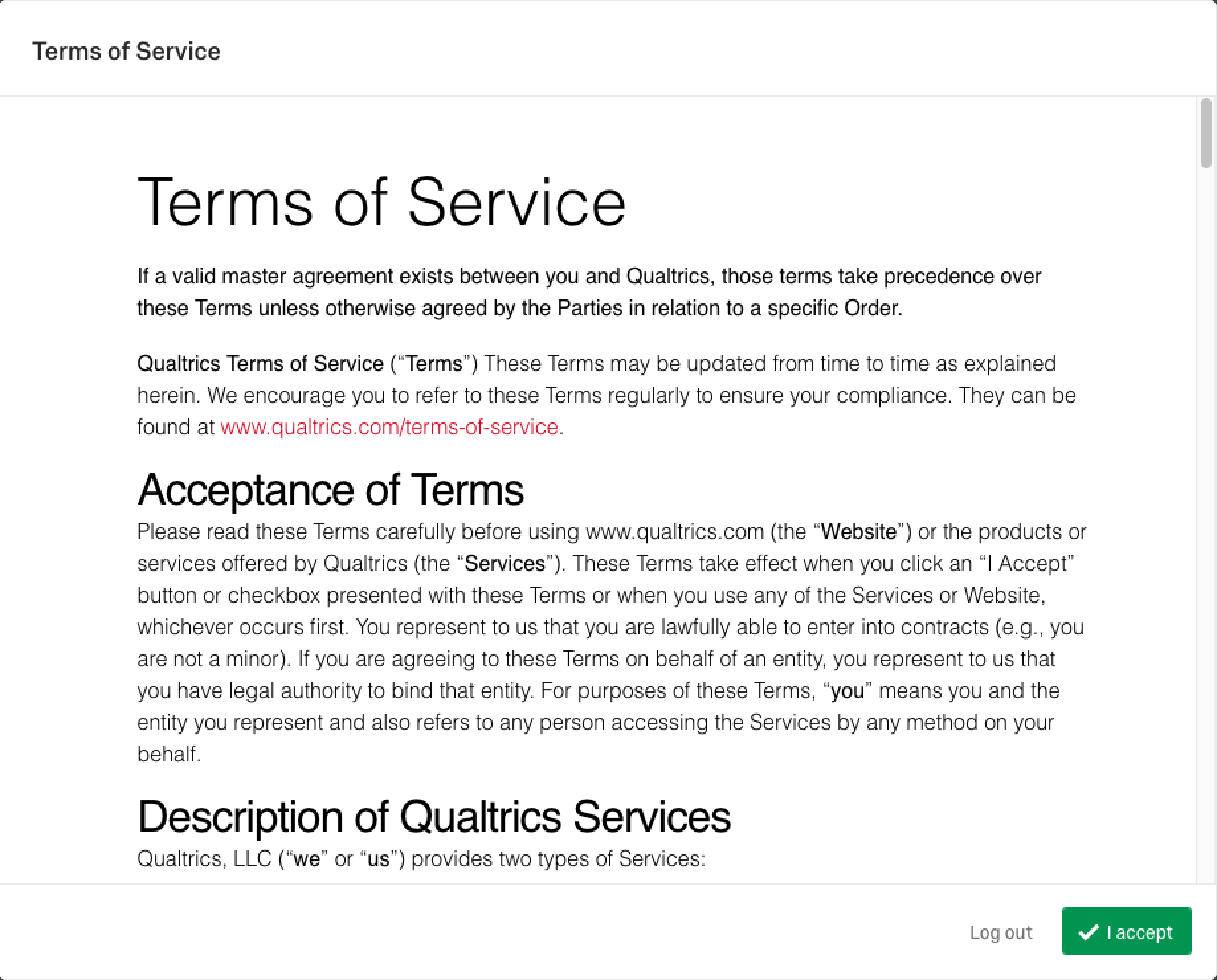 qualtrics terms of service
