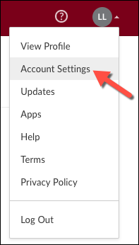 A screenshot showing the location of Account Settings in the User Menu