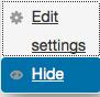Action column edit settings.