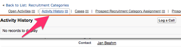 Activity History at the top of a Prospect record with the Log a Call button visible