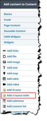 """Add custom content menu. """"Add a layout table"""" is highlighted."""