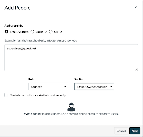 Add People window, Add users by email address option selected.