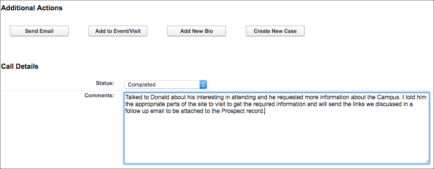 The Additional Actions section on the Prospect Outreach record with a Status of Completed and notes showing within the Comments field