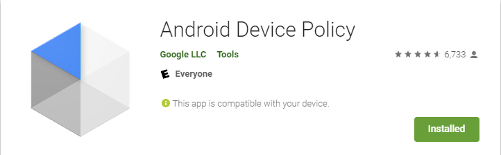 View of Android Device Policy App in the Google Play Store.