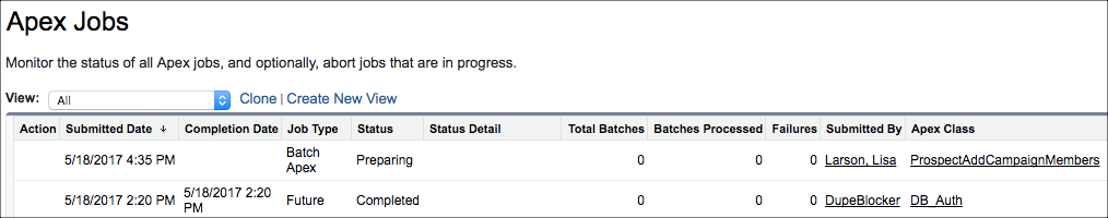 """Apex Jobs screen with an uncompleted Prospect Refresh showing in the list with a Status of """"Preparing"""""""