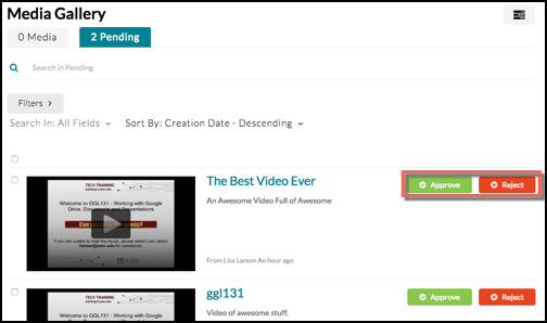 A Media Gallery with two Pending Videos and Approve and Reject buttons highlighted for one of them
