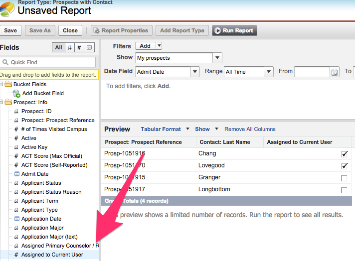 # Assigned to Current User in the Prospect Info on the Side bar