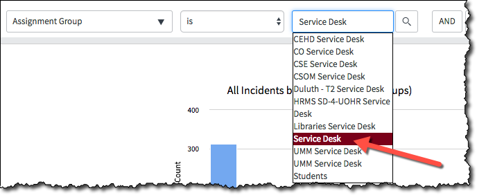 A screenshot showing the Assignment Group filter with text in the criteria box and Service Desk highlighted in the predictive list