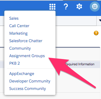 The location of Assignment Groups in the App Menu