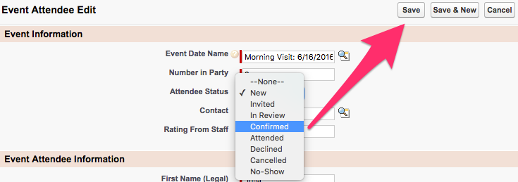 The Save button highlighted with Attendee Status options displayed in the dropdown menu