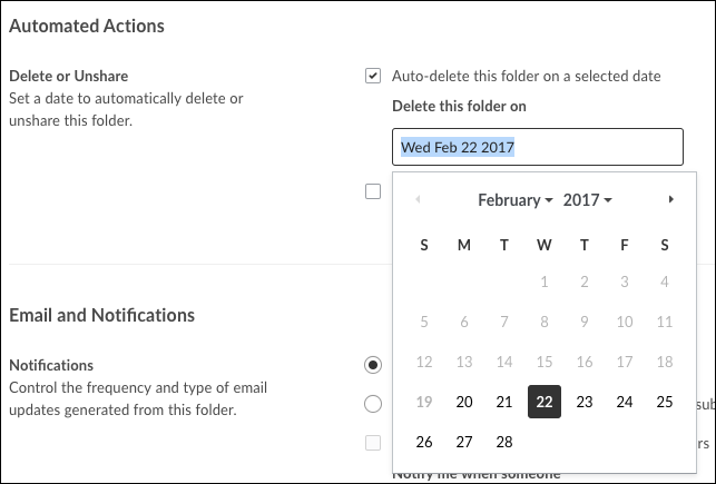 A screenshot of the Automated Actions area of the settings screen with the Auto-delete this folder on a selected date checkbox checked off and calendar options showing on the screen
