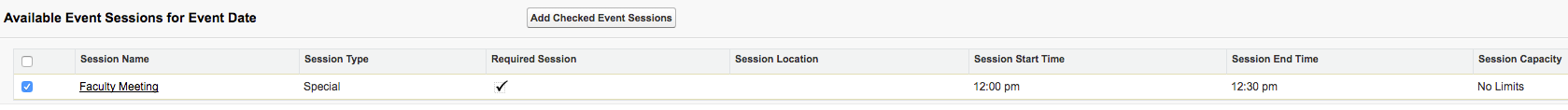 The Available Event Sessions section with a session showing