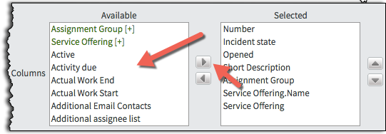 A screenshot showing the list and buttons to Move Fields from Available to Selected