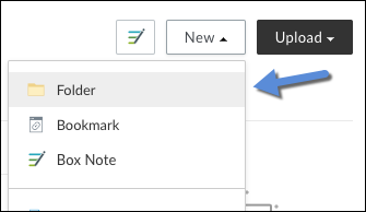 The New Menu expanded with folder highlighted in the list