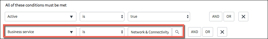 A screenshot showing the Assignment Group filter changed to Business Service is Network & Connectivity