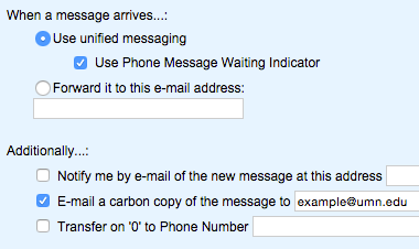A screenshot showing the middle section of the page at default and expanded to show the option to Email a carbon copy of the message to: with an example email filled in the box.