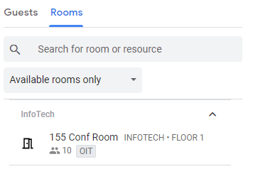 Available rooms only listed