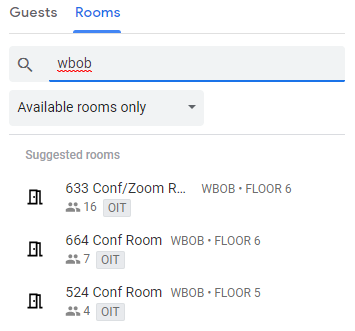Room search for wbob, list populated of available rooms