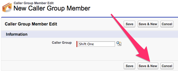 A screenshot of the Caller Group Member Edit screen with Save & New highlighted