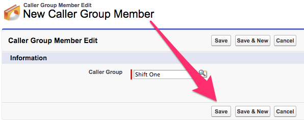 A screenshot of the Caller Group Member Edit screen with Save highlighted