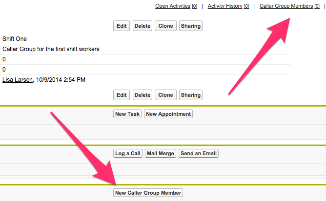 A screenshot of the Caller Group record with Caller Group Members and New Caller Group Member highlighted