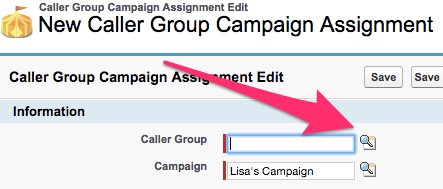 The Caller Group Lookup icon on the Caller Group Campaign Assignment Edit screen