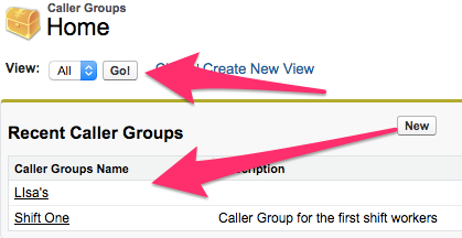 The Caller Groups Home Tab