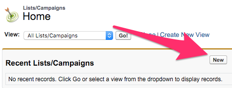 The New button on the Lists/Campaigns Home Tab