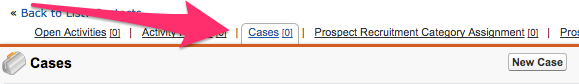 The Cases link at the top of the Prospect record with the window with the New Case button expanded