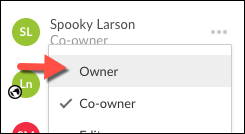 A screenshot of a collaborator's menu expanded with owner highlighted in the list