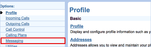 Snippet of Clearspan Profile page. Messaging link on the left is highlighted.