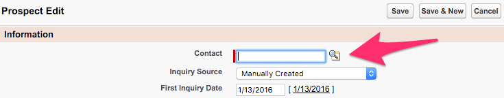 The Lookup icon for Contact on Prospect Edit
