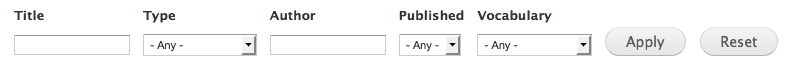 The content filter options in Drupal