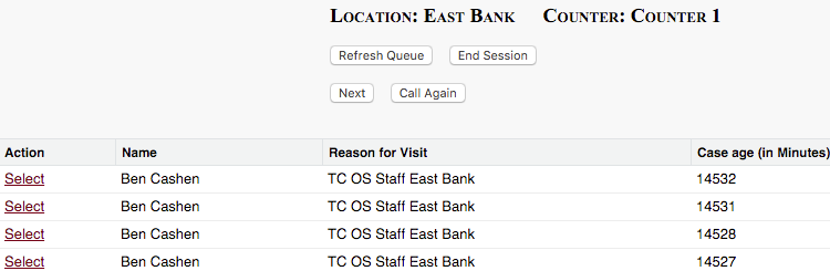 A screenshot of a Counter with some Cases showing in a list