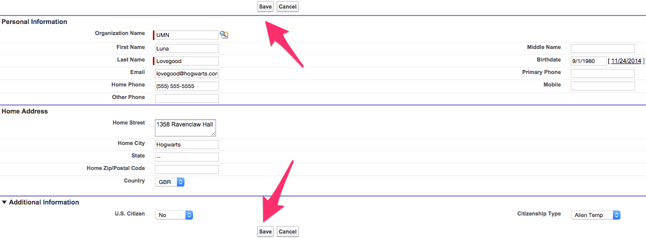 A New Contact record with fields filled in and Save buttons highlighted