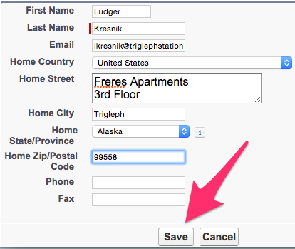 A screenshot showing the Create New Contact from Lookup screen fields and Save button