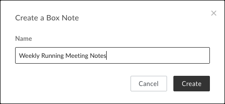 The Create a Box Note window with Name entered and Create button showing
