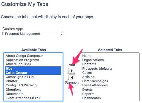 The Customize My Tabs screen with items selected in the Available Tabs menu and the Add and Remove buttons highlighted
