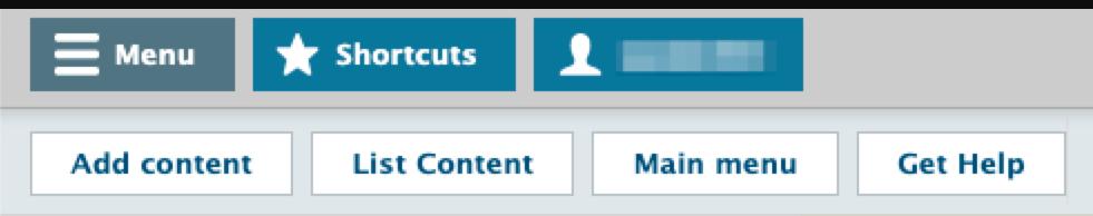 The Drupal Lite 7 admin toolbar