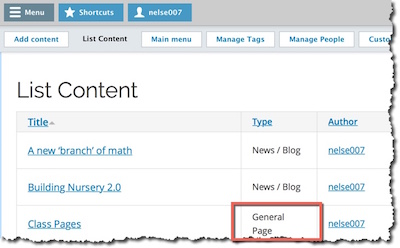 the list content table with a general page highlighted