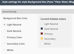 the background box style settings options listing the colors to choose from