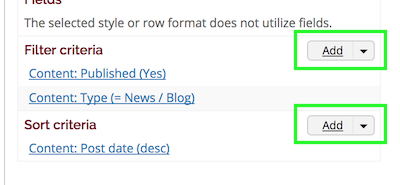 Add links for Filter criteria and Sort Criteria