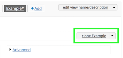Clone option in the Display Options dropdown