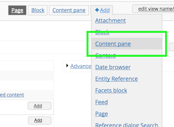 Content pane option for the Add dropdown