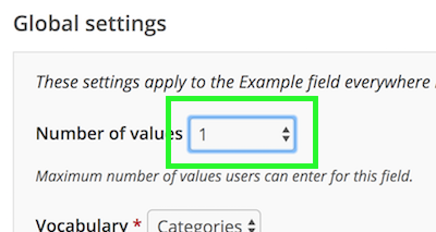 Number of values dropdown
