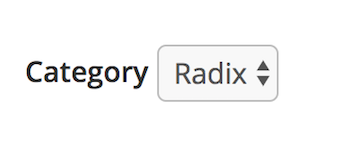 Layout category dropdown with Radix selected